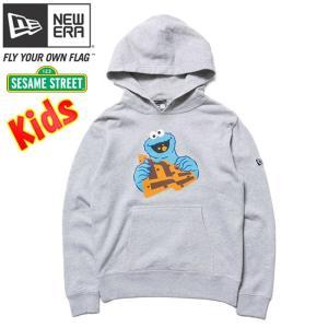 セサミストリート×ニューエラ キッズ スウェット フーディー クッキーモンスター フラッグロゴ グレー Sesame Street×New Era Kids Hoodie Cookie Monster|cio