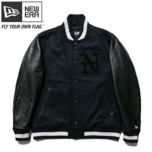 ニューエラ スタジアムジャケット N パッチ ネイビー ブラック ブラック ネイビー ホワイト New Era Stadium Jacket N Patch Navy Black Black Navy White|cio