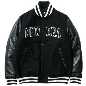 ニューエラ スタジアムジャケット メルトン レザー NEW ERA パッチ ブラック ホワイト ブラック New Era Stadium Jacket Melton Leather NEW ERA Patch Black|cio