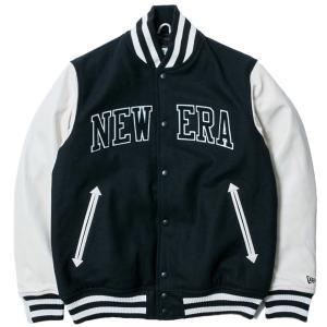 ニューエラ スタジアムジャケット メルトン レザー NEW ERA パッチ ネイビー ホワイト ネイビー New Era Stadium Jacket Melton Leather NEW ERA Patch Navy|cio