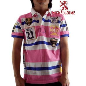 【SALE】NICKEL&DIME S/S Polo Shirt POLO PIQUET RIGATO M C Pink  ニッケル&ダイム S/S ポロシャツ ポロ ピケ リガート M C ピンク|cio