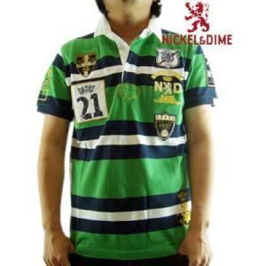 【SALE】NICKEL&DIME S/S Polo Shirt POLO PIQUET RIGATO M C  Green ニッケル&ダイム S/S ポロシャツ ポロ ピケ リガート M C,グリーン|cio