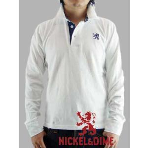【SALE】NICKEL&DIME L/S Polo Shirt POLO M L JERSEY White  ニッケル&ダイム L/S ポロシャツ ポロ M L ジャージー ホワイト|cio