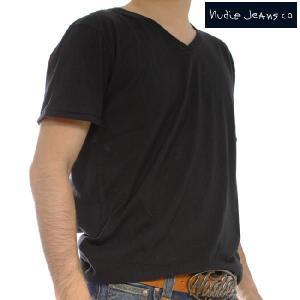 ヌーディージーンズ S/S VネックTシャツ ブラック Nudie Jeans S/S V-Neck T-Shirt  Black|cio