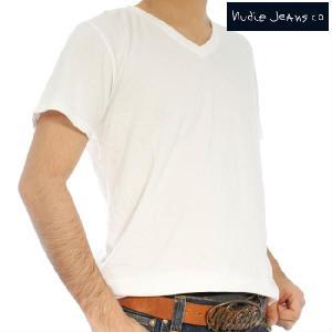 ヌーディージーンズ S/S TVネックTシャツ オフホワイト Nudie Jeans S/S V-Neck T-Shirt Offwhite|cio
