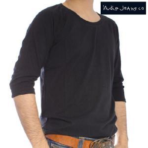 ヌーディージーンズ Q/S Tシャツ クォータースリーブティー ブラック Nudie Jeans Q/S T-Shirt Quarter Sleeve Tee Black|cio