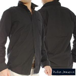 ヌーディージーンズ L/S レギュラーフィットシャツ ブラック Nudie Jeans L/S Regular Fit Shirt Black|cio