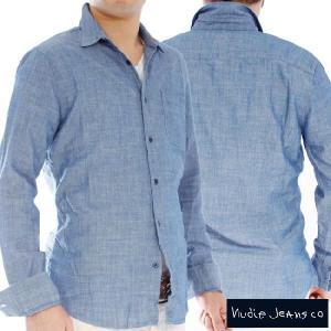 ヌーディージーンズ L/Sフィッテッドシャツデニム Nudie Jeans L/S Fitted Shirt Denim|cio