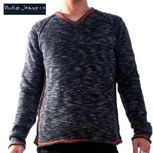 ヌーディージーンズ セーター ミランジュ Vネック ブラック 32161-6012 NUDIE JEANS Vneck Sweater MELANGE|cio