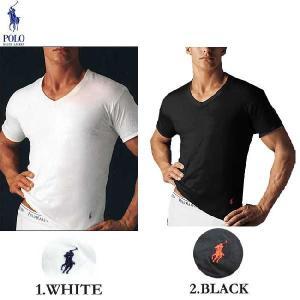ポロ ラルフローレン Vネック Tシャツ 1.ホワイト 2.ブラック Polo Ralph Lauren T-Shirt 1.White 2.Black|cio