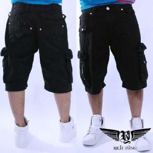 【SALE】リッチヤング ハーフ カーゴ パンツ ブラック RICH YUNG Half Cargo Pants Black RYSU10-006|cio
