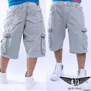 【SALE】リッチヤング ハーフ カーゴ パンツ グレー RICH YUNG Half Cargo Pants Gray RYSU10-006|cio