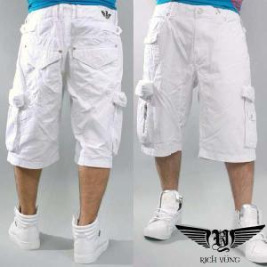 【SALE】リッチヤング ハーフ カーゴ パンツ ホワイト RICH YUNG Half Cargo Pants White RYSU10-006|cio