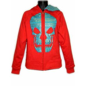 SHMACK CUT-UP HOODIE FULL ZIP PARKER Red/Turquoise Blue シュマック カット アップ フーディー フルジップパーカー レッド/ターコイズブルー|cio