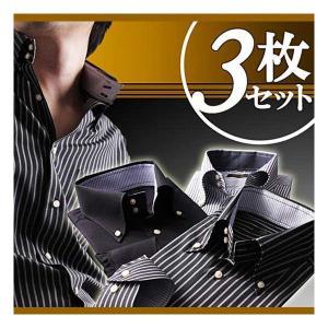 Due Bottoni Black Shirt080100145 ドゥエボットーニ ブラック系シャツ 3枚セット cio
