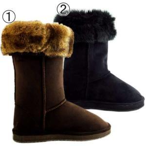 ヴェンティ アンニ フェイクファー ムートンブーツ ブラウン&ブラック Venti Anni Feke Fur Mouton Boots Brown&Black|cio
