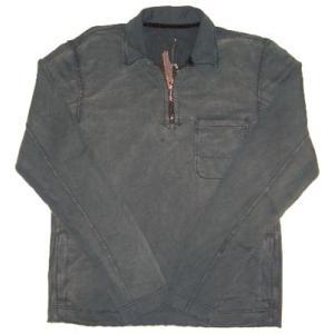 Z-BRAND L/S ZIP POLO Charcoal Gray Wash ジーブランド L/S ジップ付ポロシャツ チャコールグレーウォッシュ|cio