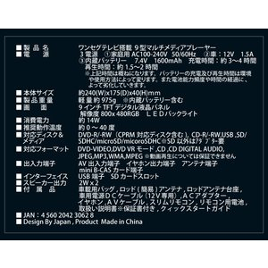 DVDプレーヤー ポータブルDVDプレーヤー DVDプレイヤー アーウィン(arwin) 9インチ ワンセグ搭載 APD-902TV 液晶テレビ テレビ TV|ciz|06