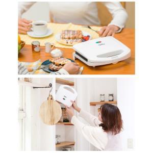 ワッフルメーカー 家庭用 電気 フッ素加工 ホワイト スイーツ 朝食 2枚焼き|ciz|10