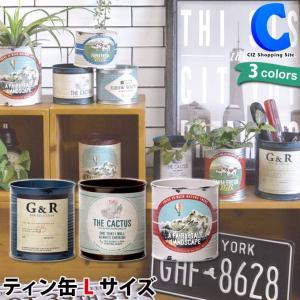 ブリキ缶 丸 容器 プランター 小物入れ ロゴ ラベル サボテン ヴィンテージ加工 ティン缶 L ciz