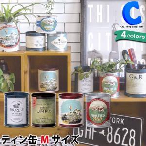 ブリキ缶 丸 容器 プランター 小物入れ ロゴ ラベル サボテン ヴィンテージ加工 ティン缶 M ciz
