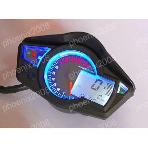 バイク 多機能 デジタル表示 タコメーター 電気式 スピードメーター 機械式 文字盤 黒