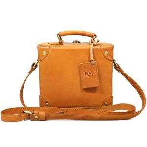 8014 フェス レディース ショルダーバッグ ミニトランク ボックス型 カウレザー 牛革 本革  ハンドバッグ 2WAY 正規品 大 /fes bag ブラウン おまけ付き|ck-custom