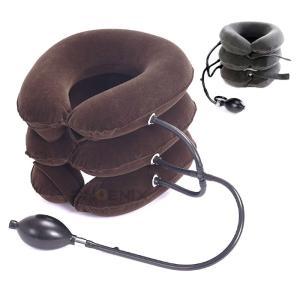 エアーネック ストレッチャー ピロー ストレッチ 首筋 健康 頸部 首伸ばし 肩こり 旅行 携帯 コルセット3段式 ネック エアーパッド 2カラー|ck-custom