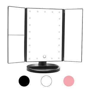 三面鏡 卓上ミラー LED ライト付き 拡大鏡 メイク 女優ミラー 折りたたみ スタンド 明るさ調節 角度調節 3カラー アウトレット|ck-custom