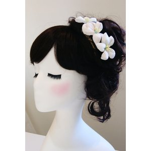 髪飾り 3輪 白|clair-accesory