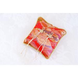 金襴 吉祥結び リングピロー 赤|clair-accesory