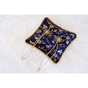 金襴 吉祥結び リングピロー 紺|clair-accesory