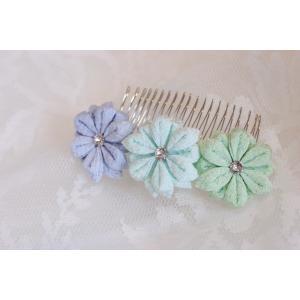 髪飾り 3輪 寒色パステル|clair-accesory