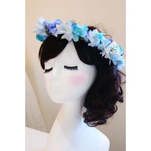 ヘッドアクセサリー 花かんむり ブルー|clair-accesory