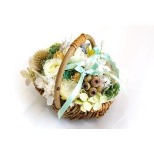リングピロー 花かごグリーン|clair-accesory