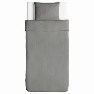 IKEA イケア 掛け布団カバー&枕カバー グレー シングル 10318668 ANGSLILJA|clair-kobe