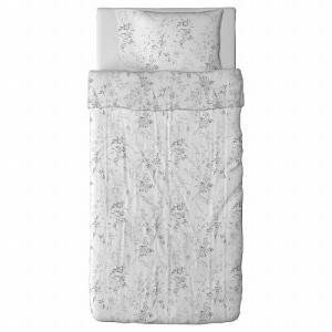 IKEA イケア 掛け布団カバー&枕カバー ホワイト グレー シングル 20172825 ALVINE KVIST|clair-kobe