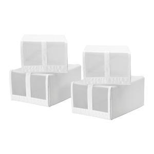 IKEA イケア シューズボックス ホワイト 80186396 幅22×奥行き34×高さ16 cm SKUBB スクッブ|clair-kobe