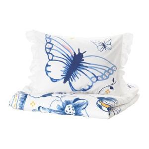 IKEA イケア 掛け布団カバー&枕カバー バタフライ ホワイト ブルー シングル n00426913 SANGLARKA|clair-kobe