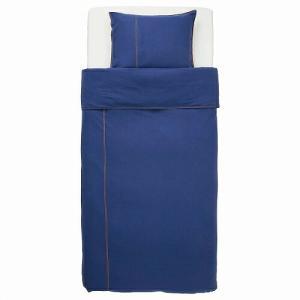 IKEA イケア 掛け布団カバー&枕カバー ダークブルー シングル n10426998 SANGLARKA|clair-kobe