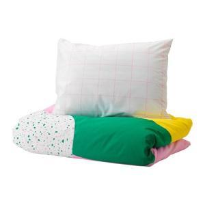IKEA イケア 掛け布団カバー&枕カバー ピンク グラフィック模様 シングル n50421277 MOJLIGHET|clair-kobe