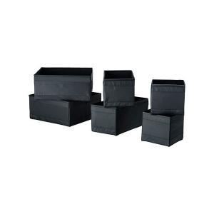 IKEA イケア ボックス6点/セット ブラック n90428516 各2点/14×14×13cm、28×14×13cm、28×28×13cm SKUBB スクッブ|clair-kobe