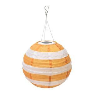 IKEA イケア LED太陽電池式ペンダントランプ 屋外用 球形 ストライプ イエロー z00422000 SOLVINDEN|clair-kobe