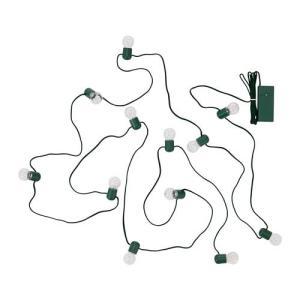 IKEA イケア LEDライトチェーン 全12球 電池式 グリーン クリスマス z20408951 STRALA|clair-kobe