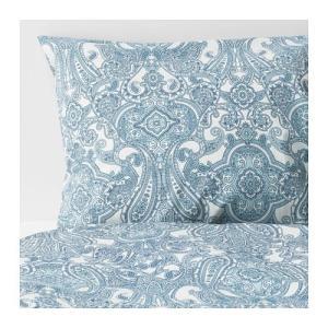 IKEA イケア 掛け布団カバー&枕カバーホワイト ブルー シングル z30399710 JATTEVALLMO|clair-kobe