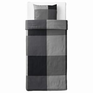 IKEA イケア 掛け布団カバー&枕カバーブラック シングル z70375547 BRUNKRISSLA|clair-kobe