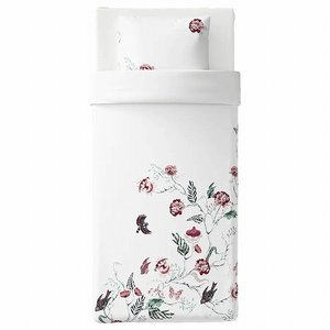 IKEA イケア 掛け布団カバー&枕カバー ホワイト フローラルパターン シングル z80412530 JATTELILJA|clair-kobe