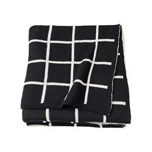 IKEA イケア ひざ掛け ブランケット ブラック ホワイト z90352253 ALMALIE|clair-kobe