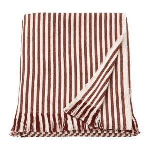IKEA イケア ひざ掛け ストライプ ホワイト レッドブラウン z90352291 TUVALIE|clair-kobe