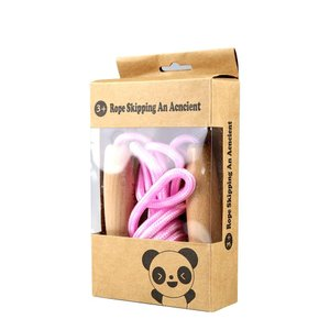 Yapeer 縄跳び 子供用 なわとび ジャンピング ロープ 木製グリップ 長さ調整可能 (ピンク)